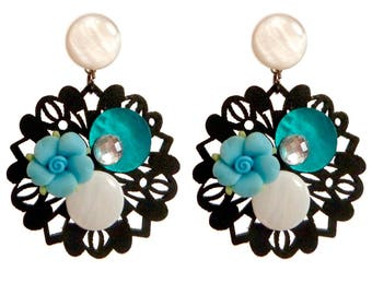 Round dangle earrings Black Pearl wood unique white blue flower