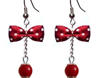 Earrings style retro bow tie white dots on Burgundy Red
