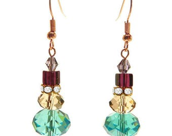 faceted Crystal beads dangling earrings light blue purple champagne