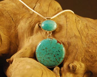 """Original and handcrafted silver pendant """"turquoise amazonite"""""""