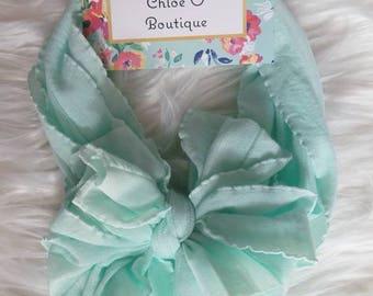 Mint Ruffle Messy Bow Headband