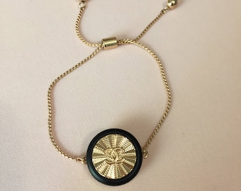 Designer Button Sunburst Slider Bracelet