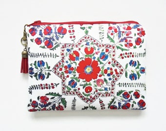 Travel Pouch, Red Folk Florals, Antique Inspired, small zipper bag, travel bag, wallet pouch.