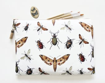 Gifts for her, Wash bag, insects and bugs print, boho, pocket bag, travel bag, cosmetic bag, zip bag, make up bag, cosmetic pouch.