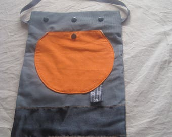 Gray and orange bag with Pocket