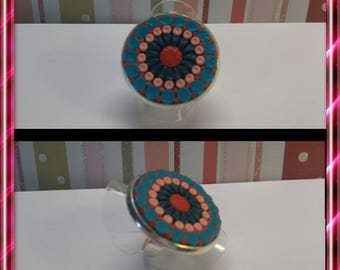 Ring round way mandala polymer clay, pink and blue