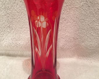 Vintage BOHEMIAN Cut To Clear Christmas Red Glass 10 Inches Tall 1930's Decorative Vase