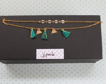 Bracelet gold and green tassels