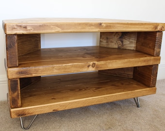 wood corner tv stand. reclaimed rustic wooden corner tv stand cabinet unit solid steel hairpin legs industrial contemporary in light wood
