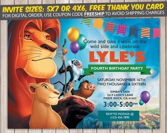 Lion King Invitation, Lion King Birthday, Lion King Birthday Invitation, Lion King Party, Lion King Invite, Lion King Printable