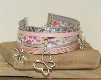 """""""Butterfly paradise"""" Cuff Bracelet leather, with sequins, bias, pink color pastel and silver"""