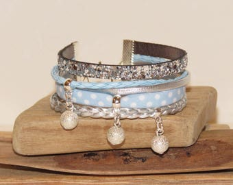 """""""Little blue polka dots"""" leather, leather Cuff Bracelet glittered edge with small polka dots, color sky blue."""