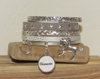 Personalized Bracelet with the name of your choice of leather, suede, white, silver color and horse, Horseshoe charms