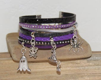 Halloween, multi-row, purple, black, silver Cuff Bracelet, leather, suede glitter, witch, spider, Ghost Hat charms