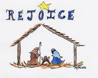 5 horizontal folded note cards, Christmas cards, thank you, Nativity, blue