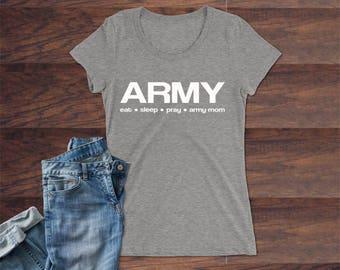 AMC100.1015  T-Shirt, short sleeve; Army Mom, eat*sleep*pray