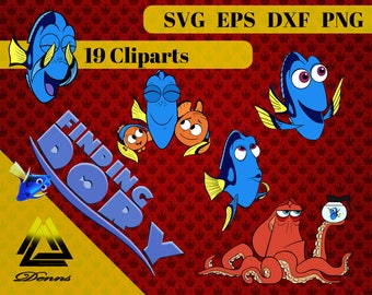 Finding Dory Clipart –19 (Svg, Eps, Png, Dxf Files) 300 PPI, Vectorial Images, Finding Dory svg, T-Shirt Design,Finding Dory Printable