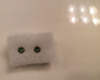1 carat all natural green sapphire earrings in 14k