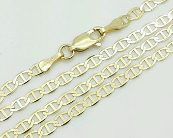 """10k Solid Yellow Gold Mariner Anchor Necklace Pendant Chain 16"""" 18' 20"""" 22"""" 24"""" 3.2mm"""