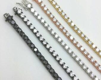 "925 Sterling Silver Rose Yellow Black Gold 7.5"" CZ  Link Tennis Bracelet Diamond/gift/wedding/engagement/birthday/stackable bracelet/Sale"