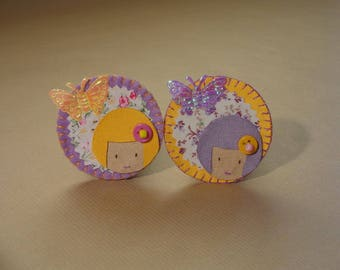 Duo hair clips or Poupettes pins, umbrellas and flowers/butterflies purple and yellow hand embroidered felt or suede