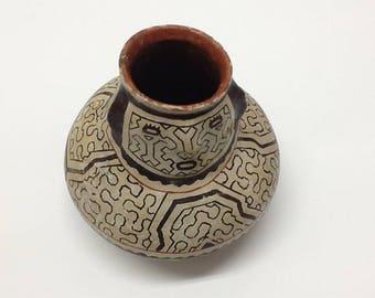 "Authentic Peruvian Shipibo Pottery 4"" x 4""  40's to 60's FREE SHIPPING"