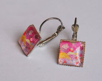 Square patterned Japanese pink and yellow Stud Earrings