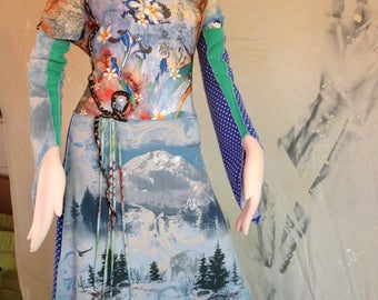 TeeRags Gypsy Dresses Blues and Green snow mountain Rhinestones