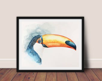 watercolor painted illustration toucan toco, original painting, watercolor animal