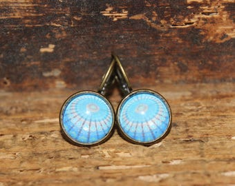 Earrings sleeper Blue 12 mm cabochon