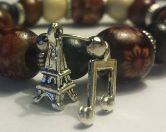 Eiffel Tower and Musical Note Charm bracelet