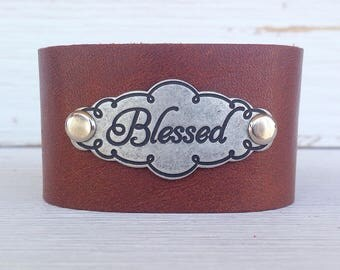 Brown Leather Cuff, Cuff Bracelet, Word Cuff, Engraved Plate