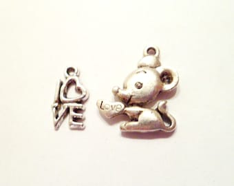 Set of 2 charms mouse heart Love silver metal