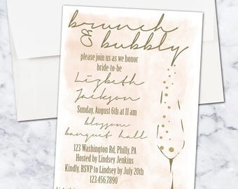 Brunch and Bubbly Champagne Bridal Shower Invitation, 5x7, Digital Download