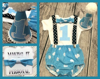 Boys 1st Birthday Cake Smash Outfit Blue With White Spots Party Hat Nappy Pants Braces Bow Tie Bodysuit Vest Glitter Vinyl 1 READY TO POST!!