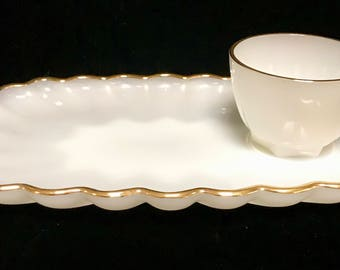 Vintage Anchor Hocking Fire King, White Milk Glass with Gold Trim Snack Sets