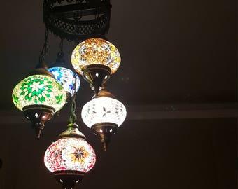 Mosaic Lamp 110-240v Handmade Chandelier Glass
