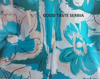 Turquoise Chiffon Silk Scarf Turquoise White Silk Scarf Turquoise Polyester Scarves Turquoise Georgette Scarf Shawl Woman Scarf Vintage Wrap