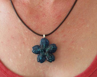 """With a leather chain buy handmade pendant """"Cherry blossom"""" from resin"""