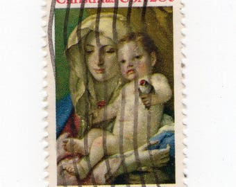 Madonna and Child (3 Stamps) - US Postage - Used - Off Paper - Scott 2026