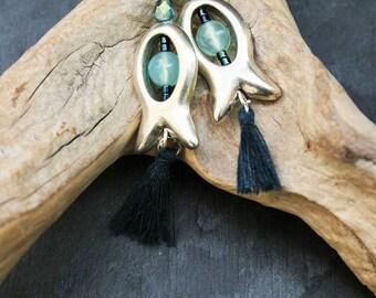 Tassels and fish in silver, 925 Silver hooks earrings