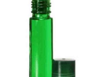 144 pc. (1 gross) GREEN Glass 10 ml-1/3 oz ROLL ON  Bottles/Matching Caps. Wholesale Perfume Essential Aromatherapy Body Fragrance Attar Oil