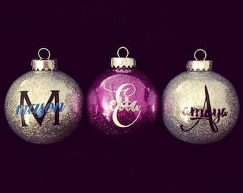Monogrammed Ornament, Custom Monogrammed Ornament Ball, Glitter Ornament Vinyl, Glitter Ornaments Christmas, 2017 Christmas Ornament