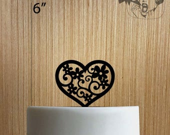 Heart and Flowers 225-198 Cake Topper