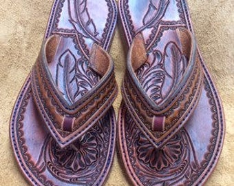 Leather Sandal with Feathes
