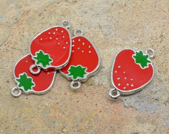 4 X connector Strawberry fruit enameled silver 26mm / 17mm