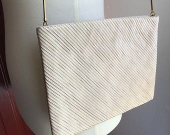 Vintage Evening Bag with Gold Tone Handle/Strap