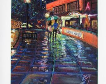 A4 Giclée Print entitled 'Wet Streets' from an original soft pastel painting by artist Martin Romanovsky