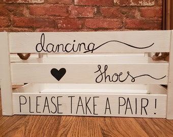 Hand Drawn White Flip Flop 'Dancing Shoes' Basket | Flip flop basket | Wedding Crate | Wedding Baskets | Wedding basket | Wedding, Parties