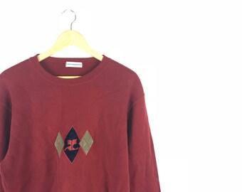 Rare !!! Vintage Courreges Red Jumper Pullover Crewneck Sweatshirt Logo Embroidery Size Large Fits Medium